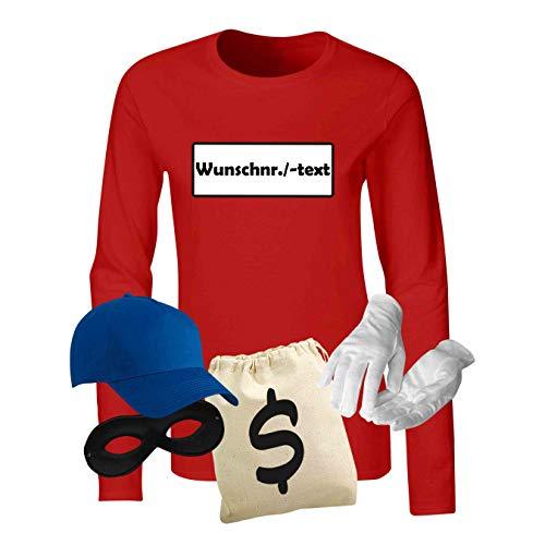 Erwachsene Gangster Für Shirt Kostüm - Panzerknacker Longsleeve Deluxe+ Kostüm-Set Wunschnummer Karneval Damen XS - 2XL Gangster Verkleidung Fastnacht, Größe:XL, Logo & Set:Wunsch-Nr./Set Deluxe+ (Wunsch-Nr./Shirt+Cap+Maske+Hands.+Beut.)