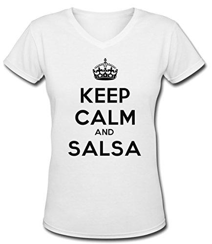 Keep Calm And Salsa Donna V-Collo T-shirt Bianco Cotone Maniche Corte White Men's V-neck T-shirt
