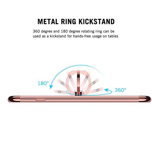 iPhone 7 Plus Hülle, RANVOO 3-Teilige Styliche Extra Dünne Harte Schutzhülle für iPhone 7 Plus Tango Rot, [CLIP ON] Roségold+Ring