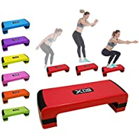 Xn8 Aerobic Stepper Fitness Cardio Steps-Adjustable Height 3 Level 10cm, 15cm & 20cm Exercise-Steppers-for-Home-Gym-Workout-Routines-Training