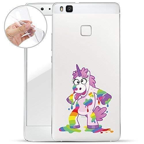 Finoo Huawei P9 Lite Weiche flexible Silikon-Handy-Hülle | Transparente TPU Cover Schale mit Motiv | Tasche Case Etui mit Ultra Slim Rundum-schutz | Einhorn malt - Crystal Malt