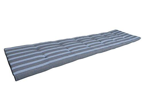 Balke Luxus 4-Sitzer Bankauflage 'Rips Silber / Anthrazit 180', ca. 180x45 cm, gestreift strukturiert