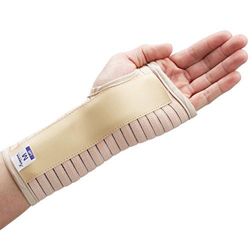 Actesso Atmungsaktiv Handgelenkbandage Handgelenkschiene - Ideal Handgelenk Bandagen für Karpaltunnelsyndrom oder Zerrungen des Handgelenks - Links oder Rechts - Klein - Groß (Beige, Grande Gauche)