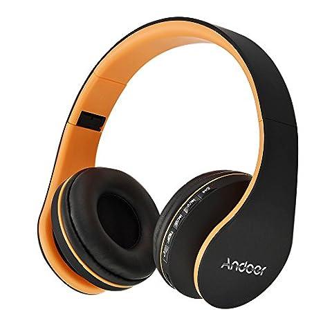 Andoer Casque sans Fil Bluetooth 4.1 Stéréo 3,5 mm Lecteur MP3 Carte TF Radio FM Mains-libres avec Mic Violet pour iPhone 6S 6S Plus Samsung S6 S5 Note 6 5 Ordinateur Portable