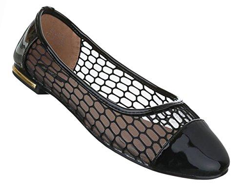 Damen Schuhe Ballerinas Pumps Schwarz Schwarz