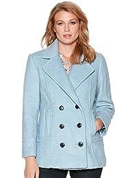 M&Co Ladies Petite Size Plain Wool Blend Long Sleeve Double Breast Blue Winter Pea Coat
