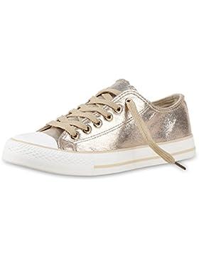 Unisex Sneaker Low | Damen Herren Turnschuhe | Übergrößen | Basic Freizeitschuhe | Stoffschuhe Metallic | Glitzer...
