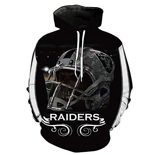 ZXTXGG Männer 3D Hoodies Oakland Raiders NFL Fußballhelm Eindringling Team Uniform Muster Digitaldruck Kapuzenpullis Liebhaber Kapuzenpullis(XXXL,Schwarz) (Oakland Raiders Uniformen)