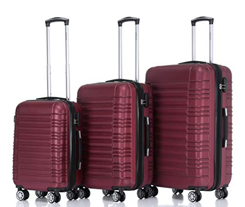 BEIBYE 2088 Zwillingsrollen Reisekoffer Koffer Trolleys Hartschale M-L-XL-Set in 13 Farben (Weinrot, Set)