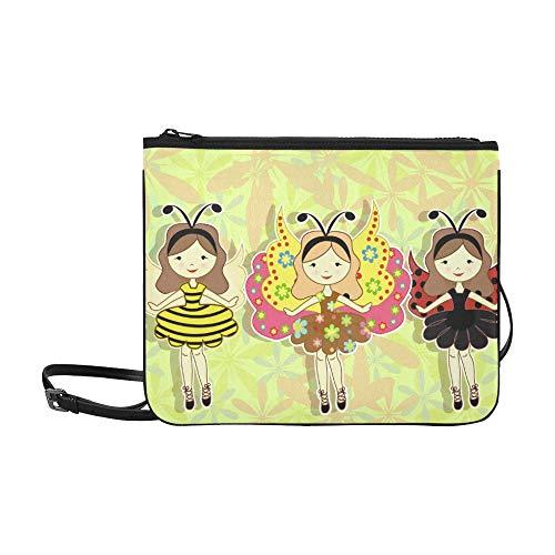 Niedliche Cartoon-Mädchen mit einem Marienkäfer-Muster benutzerdefinierte hochwertige Nylon dünne Clutch-Tasche Umhängetasche Umhängetasche (Marienkäfer Kostüm Muster)
