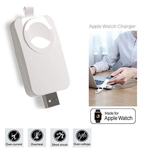 MASOMRUN Apple Watch Cargador Portatil,Cargador USB Portátil Compatible con Apple Watch/iWatch, Apple Watch Charger inalámbrico magnético Compatible con Apple Watch Serie 1/2/3/4,Girar 90 °- 180 °