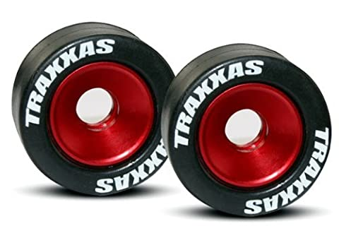 Traxxas 5186 Rubber Tires Mounted on Red-Anodized Aluminum Wheelie Bar Wheels (pair)