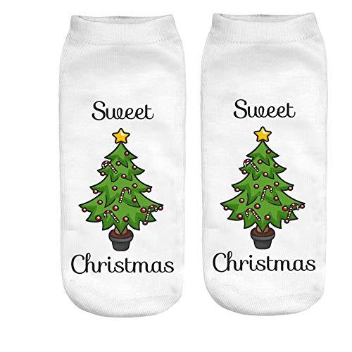 ZZBO Weihnachtssocken Niedliche Söckchen 3D Schneemann Weihnachtsmann Elk Gedruckt Sneaker Socken Casual Halbsocken Mode Fußkettchen Socken Lustige Niedrige Knöchel Socken Lässige Socken Mann Frau