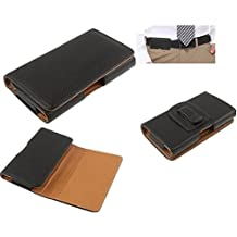 DFV mobile - Case belt clip synthetic leather horizontal premium for => GOOPHONE I5C / MI5C > Black