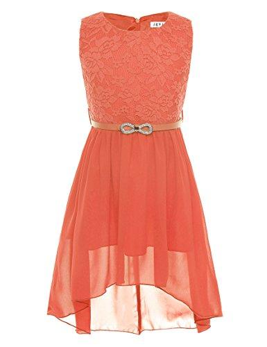 iEFiEL Mädchen Kleid Festlich Tüll Sommer Kleid Blumenmädchen Hochzeit Festzug Bekleidung mit Schleife 116-164 (152, Orange)