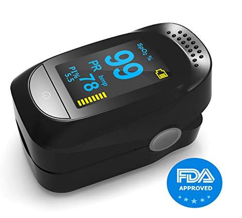 Fingeroximeter, Pulsoximeter Blutsauerstoffsättigungsmonitor, Pulsmesser Oximeter mit Herzfrequenz-/ Pulsfrequenz-/ BPM-Anzeige großer Bildschirm und anpassbaren Alarmen von der FDA zugelassen