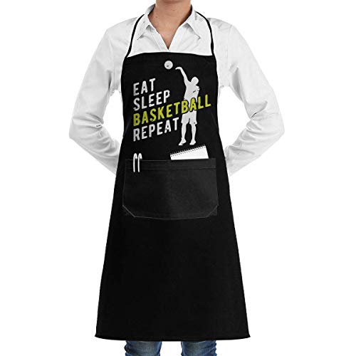 Server Aprons Eat Sleep Basketball Repeat Kitchen Long Aprons Unisex Barbecue Sleeveless Overalls Portable Pocket Design