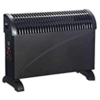 Elito Home & Garden Free Standing 2kw Convector Heater With Turbo Fan And 24 Hour Timer 2000W Black/White (2000W Black Heater)