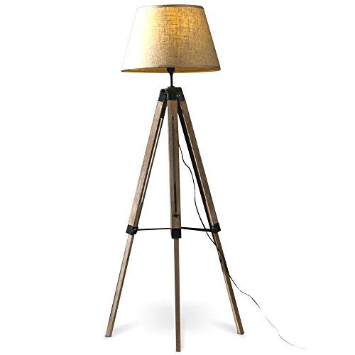 MOJO Stehlampe Höhenverstellbar Stehleuchte Tripod Lampe Dreifuss (Schirm Beige, Beschläge...