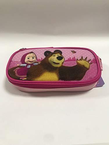Masha e orso astuccio portapenne ovale con cerniera rosa