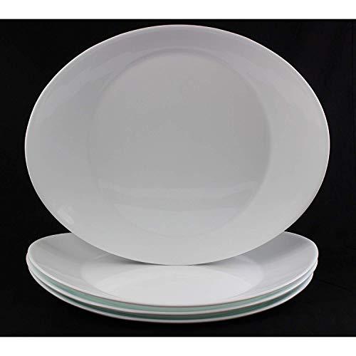 Fitting Gifts Bistro Collection Plats de Service Prometeo de Forme Ovale, Blanc Brillant (4 Pièces)