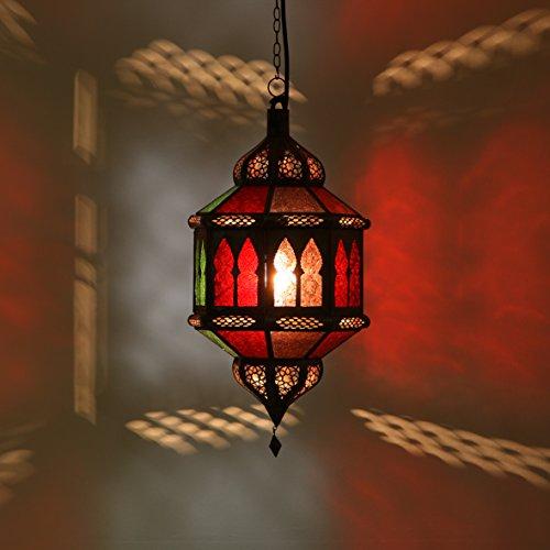 Orientalische Pendelleuchte marokkanische Lampe Trombia Biban Multifarbig H 50 cm   Kunsthandwerk aus Marokko wie aus 1001 Nacht   Handmade Hängelampe handgefertigte Pendellampe Laterne   L1231