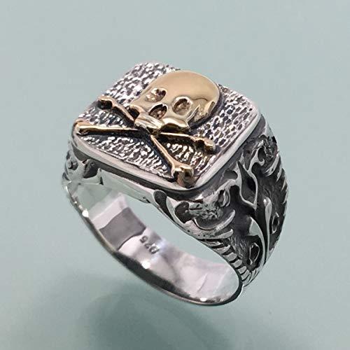Neu Männer 24K Vergoldet Schädel Ring Sterling Silber 925 Freimaurer Biker Herren Schmuck Juwelen Silverzone77