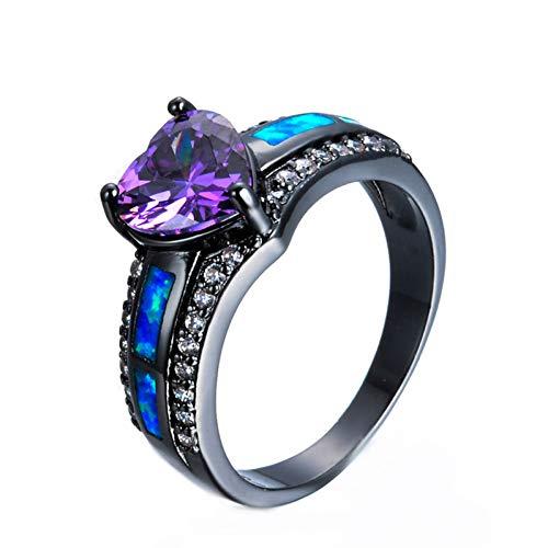 WL Ring damen Charm Multicolor Heart Zirkon Blau/Weiß/Rosa Feueropal Ring Weiblichen Schwarzen Gold Gefüllten Ring Birthstone - Geburtsstein Ring, Halskette, Charms