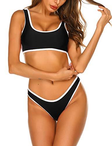 ADOME Damen Bikini Set mit Shorts Tankinis Schwimmanzug Badeanzug Zweiteilige Sportlich Bademode für Frauen Schwarz S