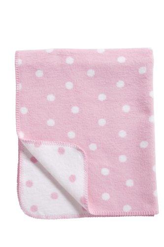 Meyco 1531050 Babydecke/Kuscheldecke aus 100 prozent Baumwolle, 75 x 100 cm, Punkte rosa/weiß