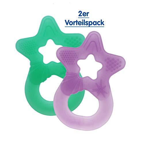 Dentistar® Beißring im 2er-Set - Stern - Zahnungshilfe für Babys ab 3 Monate - Kühlbeißring Baby aus TPE - Made in Germany – Mehrfarbig (Lila + Minze Grün | 2er Set)