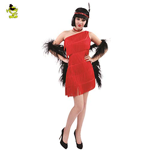 GAOGUAIG AA Womens Red Pailletten Flapper Kleid Kostüm Erwachsene 1920 Kostüm Cosplay Party Kostüme SD (Color : Onecolor, Size : Onesize)