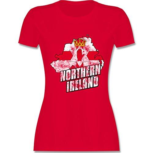 EM 2016 - Frankreich - Northern Ireland Umriss Vintage - tailliertes Premium T-Shirt mit Rundhalsausschnitt für Damen Rot