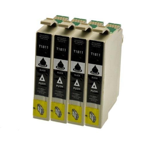 Set Tintenpatrone für Epson T1811XL 4x Schwarz - Schwarz 4x je 18 ml, kompatibel zu C13T18114010. Expression Home XP30, XP102, XP202, XP205, XP302, XP305, XP402, XP405.