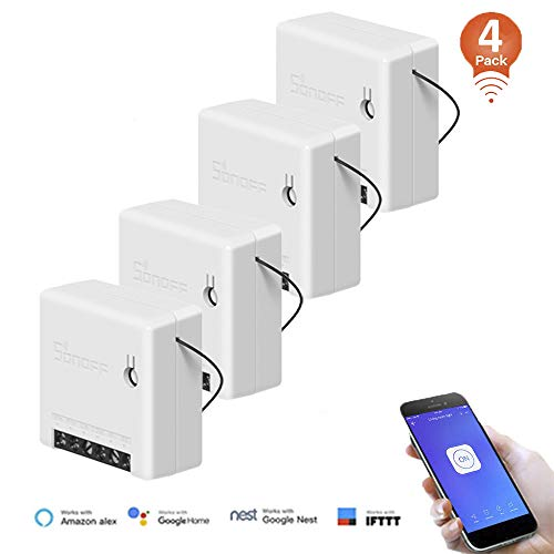 SONOFF Smart WiFi Switch Mini 2 Way Light Switch,Compatible with Alexa/Google Home/Nest/IFTTT,APP Remote Control Switch,Voice Control,Timer Function,Support LAN Control,No Hub Required (4 Pack)