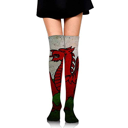 Wales Flag Cotton Compression Socks For Women. Graduated Stockings For Nurses, Maternity, Travel, Flight, Pregnancy, Varicose Veins,Running & Fitness, Calf Support.