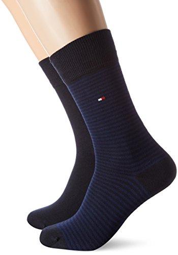 Tommy Hilfiger Herren TH Men SMALL Stripe 2P Socken, Blau (Tommy Blue 054), 43/46 (2erPack) (Blue-stripe-socken)