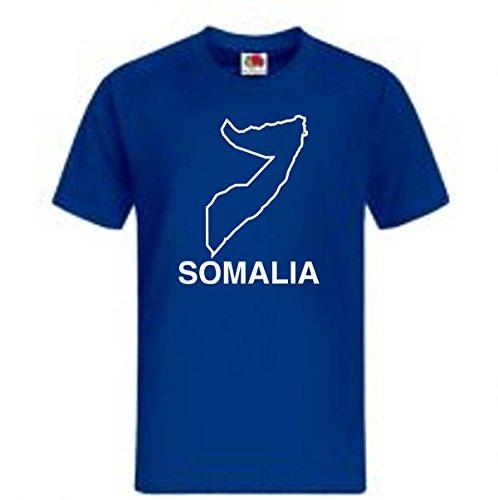 TShirt Ländershirt Somalia mit Landkarte - Brustaufdruck Blau