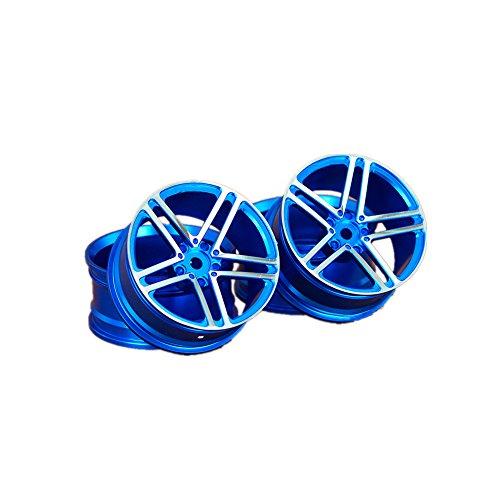Meijunter 4PCS Aluminum Legierung Rad Reifen Felge Nabe Rahmen für 1/10 RC Racing On-Road Drift Cars Color Blue