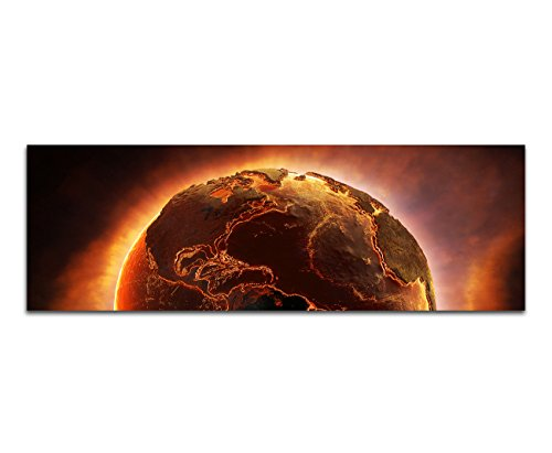 Panoramabild auf Leinwand und Keilrahmen 120x40cm Planet Erde Feuer Desaster