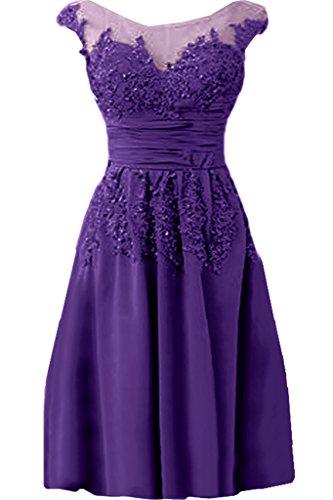Ivydressing Damen Elegant Spitze Applikation Rundkragen A-Linie Chiffon&Tuell lang Promkleid Festkleid Abendkleid Violett Kurz