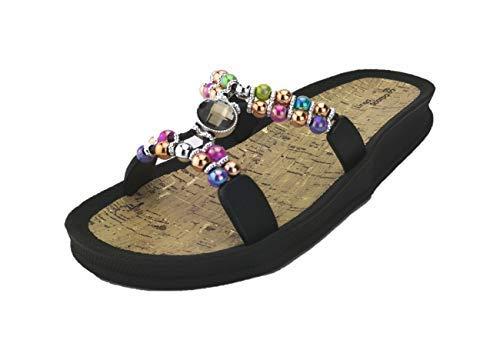 Linea Scarpa Syros modische Badeschuhe Pantoletten mit Fußbett Damen: Größe: 38 | Farbe: Schwarz