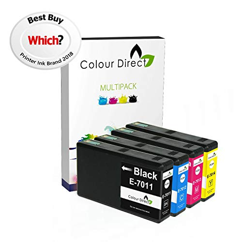 Colour Direct Impostato Completo of 4 XXL Compatibile Cartucce d'inchiostro Sostituzione Per Epson WorkForce Pro WP-4015 WP-4025 WP-4025DW WP-4095 WP-4500 WP-4515 WP-4525 WP-4525DNF WP-4535 WP-4535DWF WP-4545 WP-4545DTWF WP-4595 T7011 T7012 T7013 T7014 3400 pagine