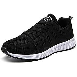 UMmaid Mujer Zapatos Deportivos Plano Zapatillas de Running Deportes para Mujer Gimnasio Correr, Negro, 40 EU