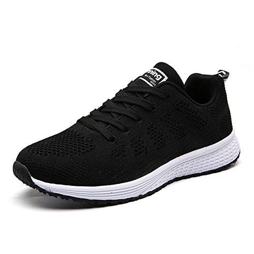 UMmaid Mujer Zapatos Deportivos Plano Zapatillas de Running Deportes para Mujer Gimnasio Correr, Negro, 37 EU