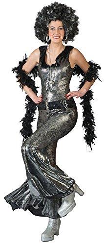 Disco Doll Anzug für Damen Gr. 32 34 - Toller 70er Jahre Disco Love Anzug für Damen Schwarz Silber (Abba Kostüme Zu Machen)