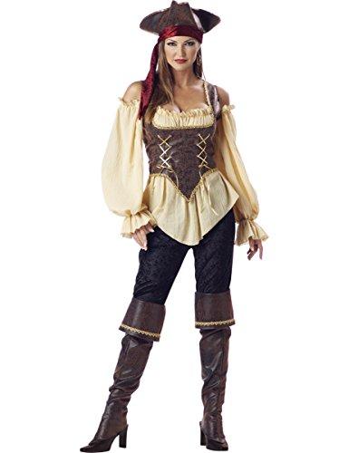 Generique - Piraten-Kostüm für Damen - Deluxe L (Piraten Damen Deluxe Kostüm)