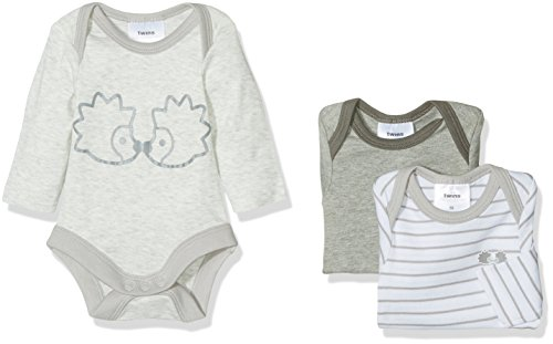 Twins Unisex Baby Body langarm, 3er Pack, Grau (Grau 4023), 56
