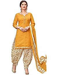 Kanchnar Women's Yellow Color Cotton Printed Unstitched Dress Material-753D8005