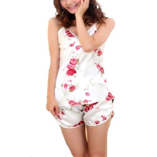 One Size Fashion Trendy Sexy Flower Sleepwear Braces Shirts+Shorts Underwear Pajamas Robes Set for Women